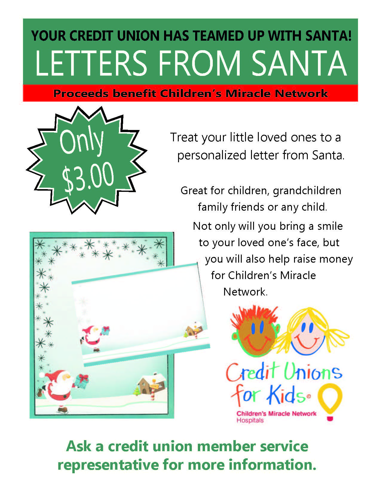 Your CU is offering Letters to Santa